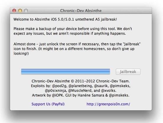 iOS 5 Untethered Absinthe Jailbreak-chronic dev team