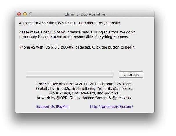 iOS 5 Untethered Absinthe Jailbreak -step 3
