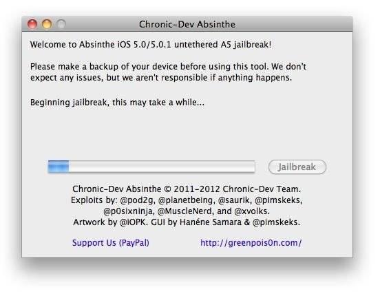 iOS 5 Untethered Absinthe Jailbreak -step 4