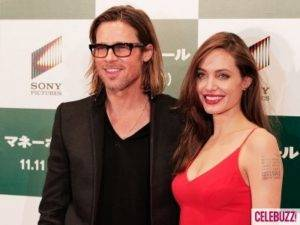 "Brad Pitt and Angelina Jolie at the Premiere of ""Money Ball"""
